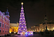 Christmas decorations in Warsaw Royalty Free Stock Photo