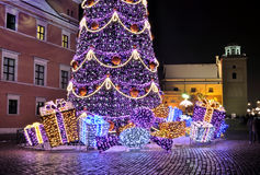 Christmas decorations in Warsaw. Christmas tree in Warsaw Old Town, Poland Stock Images