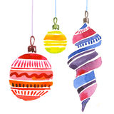 Christmas decorations watercolor illustration. Stock Images