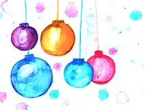 Christmas decorations watercolor painted hand drawn illustration background Royalty Free Stock Photography