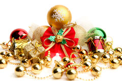 Christmas decorations on white background. Stock Photos