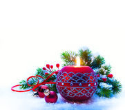 Christmas Decorations on white  background Stock Photo