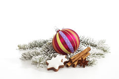 Christmas decorations on white background Royalty Free Stock Images