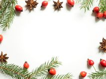 Christmas decorations on a white background, berries rose hips, stars, fir branches. copy space Royalty Free Stock Photos
