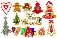 Christmas decorations on a white background royalty free stock photo