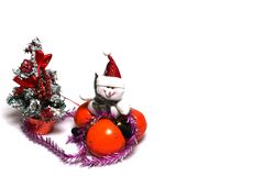 Christmas decorations on a white background royalty free stock images