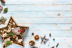 Christmas decorations on white background with Royalty Free Stock Photography