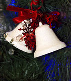 Christmas decorations white bells Royalty Free Stock Photo