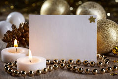 Christmas decorations and white blank card for text Royalty Free Stock Images