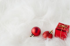Christmas Decorations on White Fur Royalty Free Stock Photo