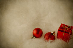 Christmas Decorations on White Fur - Vintage Stock Photo