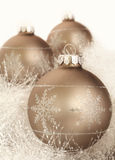 Christmas decorations on a white garland Stock Images