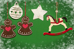 Christmas decorations with white horse. New year symbol 2015 Royalty Free Stock Images