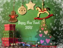 Christmas decorations with white horse. New year symbol 2015 Royalty Free Stock Image