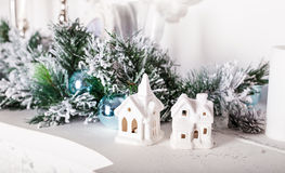 Christmas decorations, white houses Stock Photos