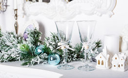 Christmas decorations, white houses Royalty Free Stock Photo