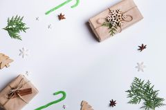 Christmas decorations on white table, copy space royalty free stock photography