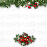 Christmas decorations on a white textured background. card for c Stock Photos