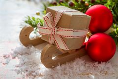 Christmas decorations on white wood background. Copy space Royalty Free Stock Photography