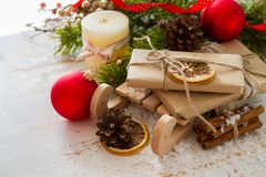 Christmas decorations on white wood background. Copy space Stock Image