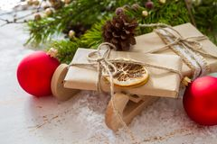 Christmas decorations on white wood background. Copy space Stock Photo