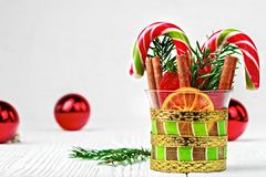 Christmas decorations on white wooden table stock image