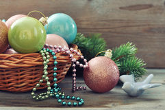 Christmas decorations in wicker basket Stock Photography