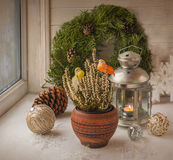 Christmas decorations  in the window on the eve of Christmas Royalty Free Stock Photos