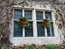 Christmas Decorations on Windows Royalty Free Stock Photo