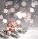 Christmas decorations on winter background, text space Stock Photo