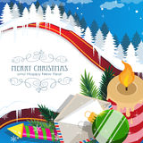 Christmas decorations on winter forest. Christmas attributes on winter forest background. Merry Christmas and new year background Stock Images