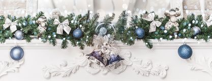 Free Christmas Decorations With Bells And Balls, Sparking, Glowing Holiday Background. Happy New Year And Xmas Theme. Royalty Free Stock Image - 129460326