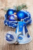 Christmas decorations on wood Royalty Free Stock Photography