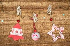 Christmas decorations on wood background. Royalty Free Stock Photo