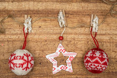 Christmas decorations on wood background. Stock Images
