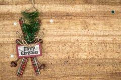 Christmas decorations on wood background. Stock Photo