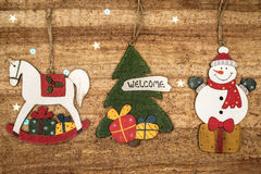 Christmas decorations on wood background. Beautiful Christmas ca Stock Photography