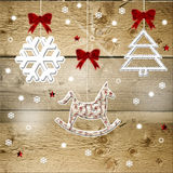 Christmas decorations. Wood background with tree and Christmas  ornaments Royalty Free Stock Photo