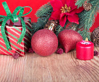 Christmas Decorations on a Wood Floor Royalty Free Stock Photography