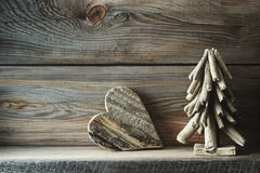 Christmas decorations on wood shelf Stock Photos