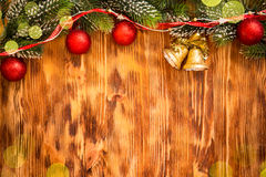 Christmas decorations on wood Stock Image
