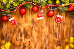 Christmas decorations on wood Royalty Free Stock Photos