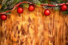 Christmas decorations on wood Royalty Free Stock Image
