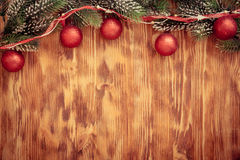 Christmas decorations on wood Royalty Free Stock Photo