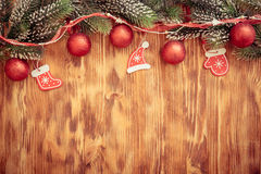 Christmas decorations on wood Royalty Free Stock Images