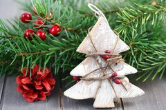 Christmas decorations on wooden background Stock Image