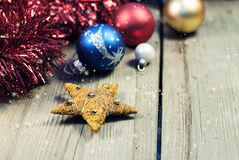 Christmas decorations on wooden background royalty free stock photos