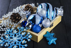Christmas decorations on wooden a background.  Royalty Free Stock Photography