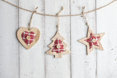 Christmas decorations on wooden background Stock Photography