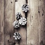 Christmas  decorations on wooden background. Pine cones on old w Stock Photos